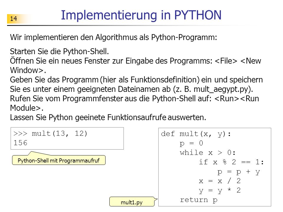 Implementierung in PYTHON