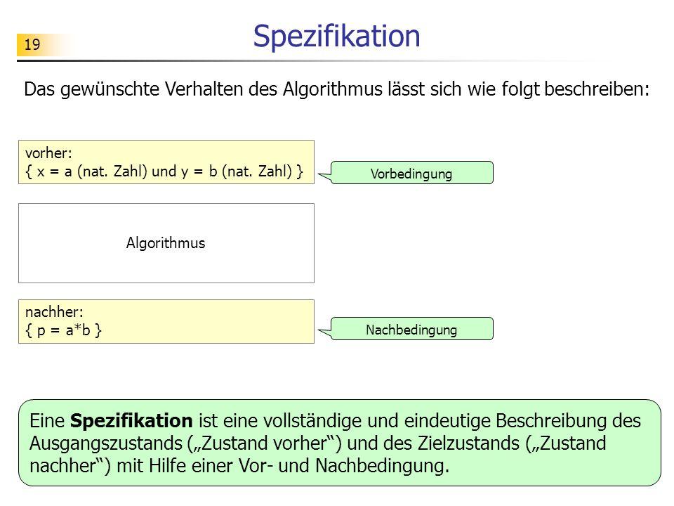 Spezifikation Das gewünschte Verhalten des Algorithmus lässt sich wie folgt beschreiben: vorher: { x = a (nat. Zahl) und y = b (nat. Zahl) }