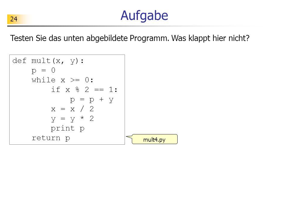 Aufgabe Testen Sie das unten abgebildete Programm. Was klappt hier nicht def mult(x, y): p = 0. while x >= 0: