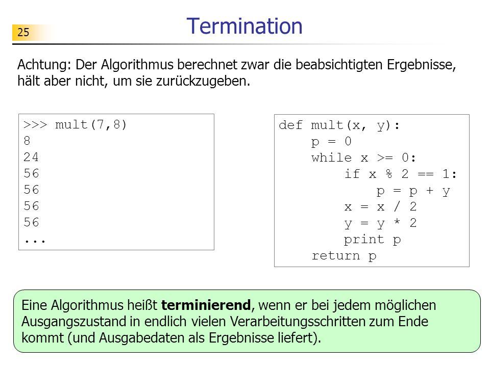 Termination Achtung: Der Algorithmus berechnet zwar die beabsichtigten Ergebnisse, hält aber nicht, um sie zurückzugeben.