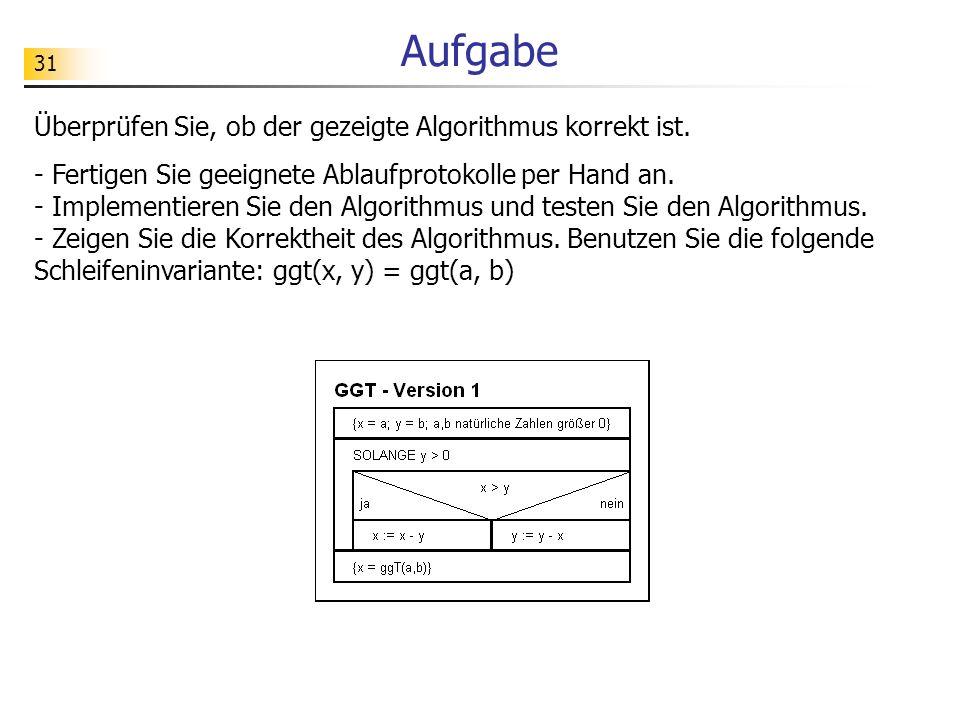 Aufgabe Überprüfen Sie, ob der gezeigte Algorithmus korrekt ist.