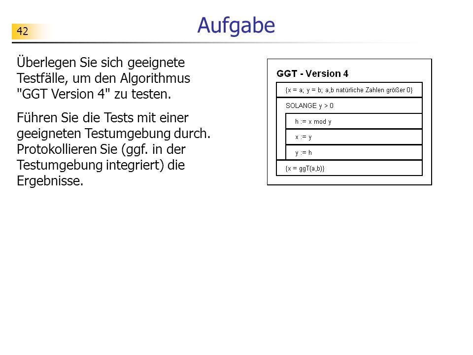 Aufgabe Überlegen Sie sich geeignete Testfälle, um den Algorithmus GGT Version 4 zu testen.