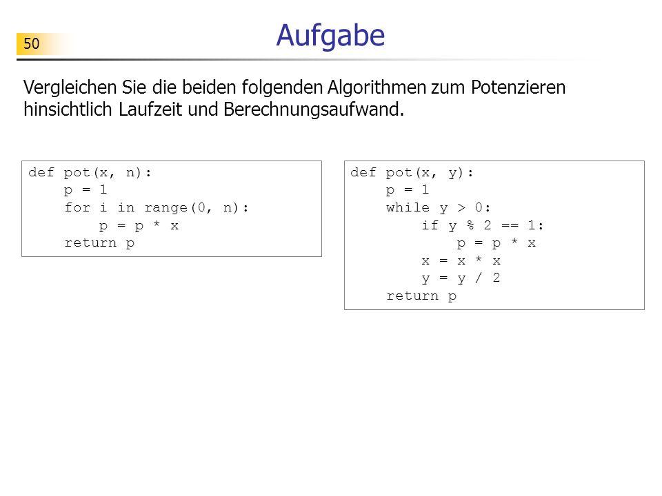 Aufgabe Vergleichen Sie die beiden folgenden Algorithmen zum Potenzieren hinsichtlich Laufzeit und Berechnungsaufwand.