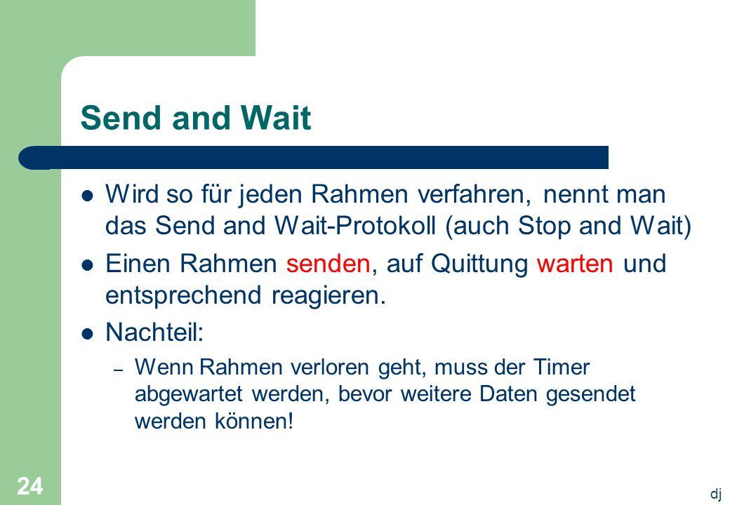 Send and Wait Wird so für jeden Rahmen verfahren, nennt man das Send and Wait-Protokoll (auch Stop and Wait)