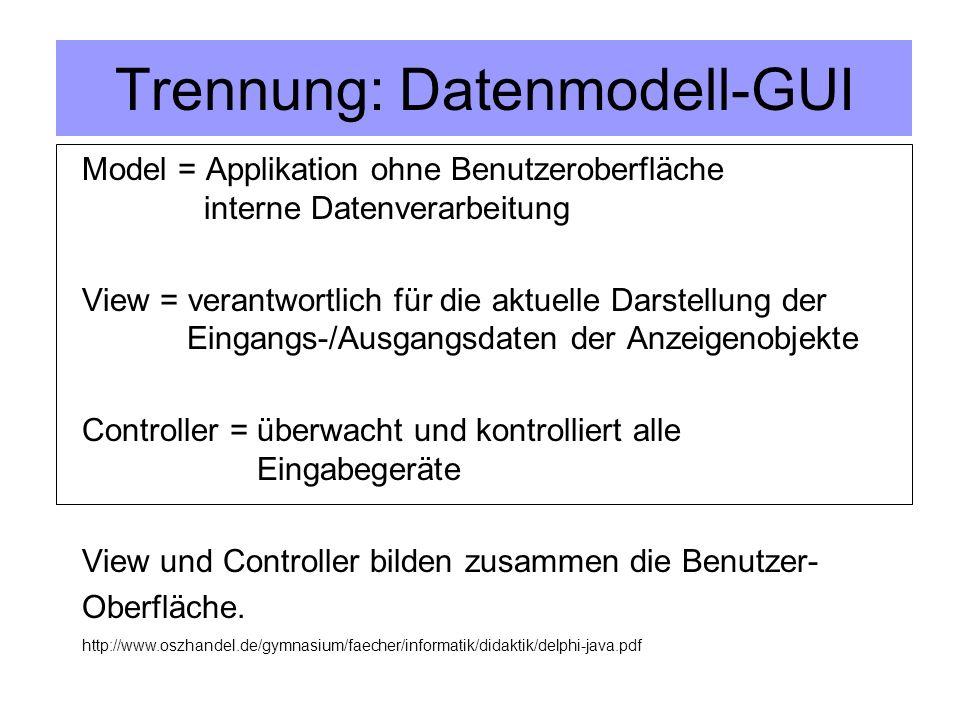Trennung: Datenmodell-GUI