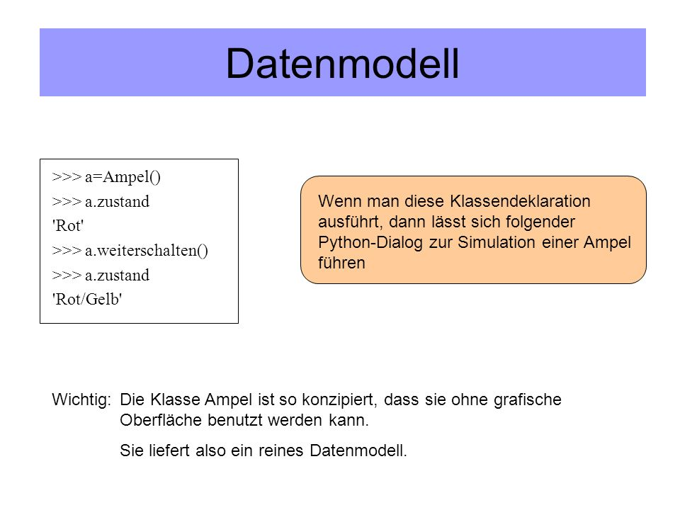Datenmodell >>> a=Ampel() >>> a.zustand Rot