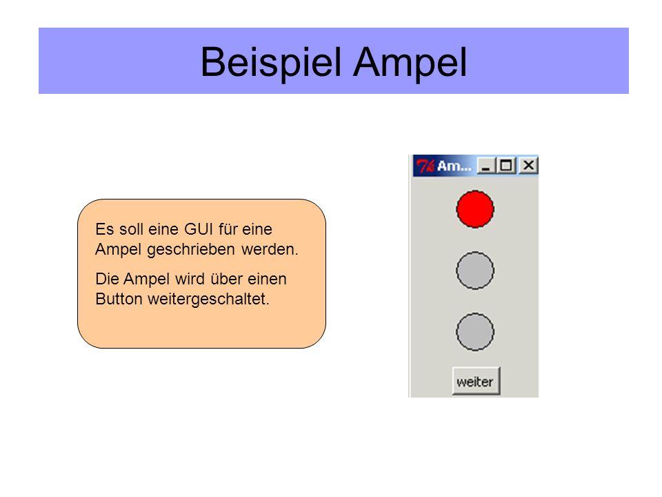 Beispiel Ampel Es soll eine GUI für eine Ampel geschrieben werden.