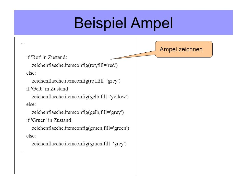 Beispiel Ampel ... if Rot in Zustand: