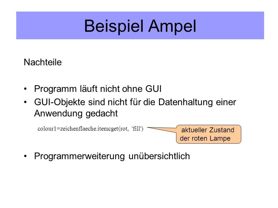 Beispiel Ampel Nachteile Programm läuft nicht ohne GUI