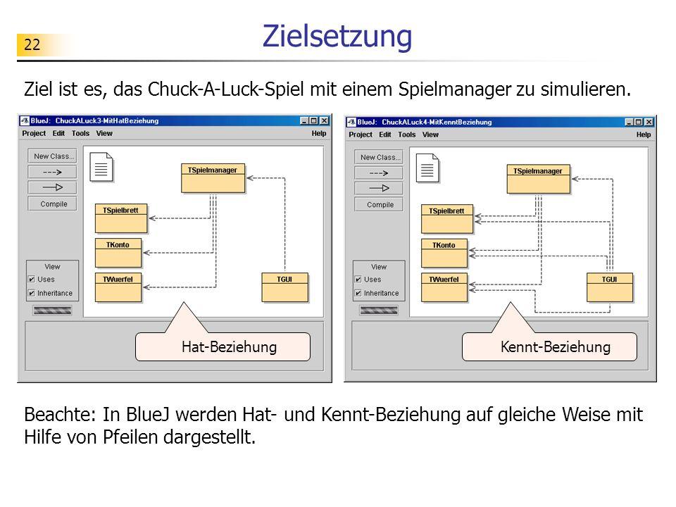 Zielsetzung Ziel ist es, das Chuck-A-Luck-Spiel mit einem Spielmanager zu simulieren. Hat-Beziehung.