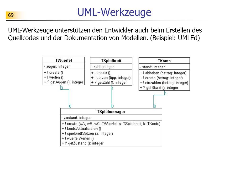 UML-Werkzeuge UML-Werkzeuge unterstützen den Entwickler auch beim Erstellen des Quellcodes und der Dokumentation von Modellen.