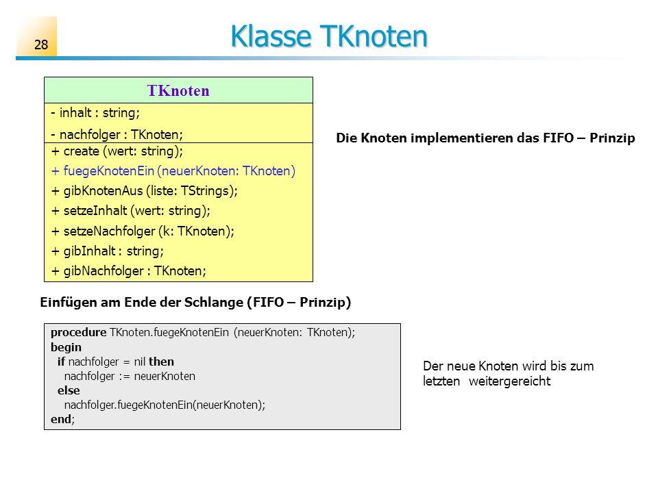 Klasse TKnoten TKnoten 28 - inhalt : string; - nachfolger : TKnoten;