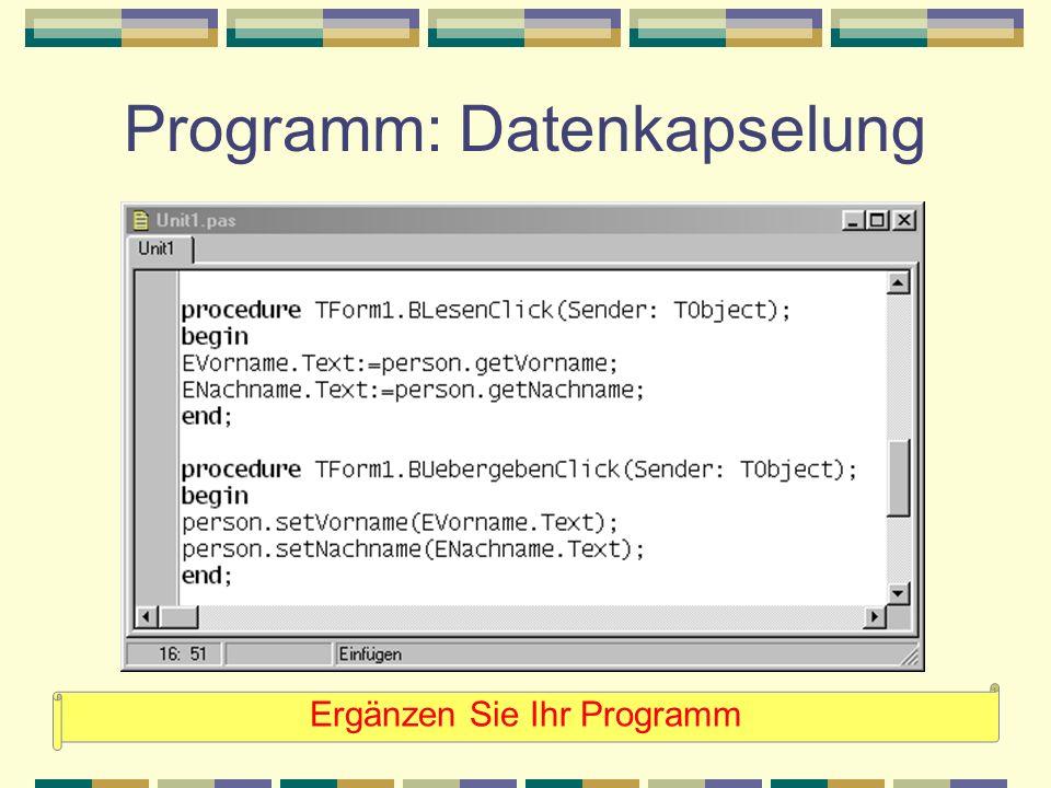 Programm: Datenkapselung