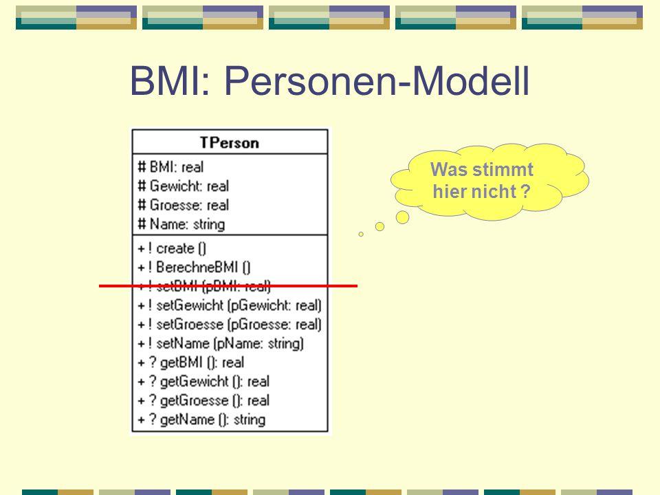 BMI: Personen-Modell Was stimmt hier nicht