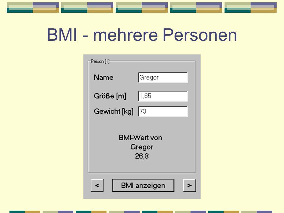 BMI - mehrere Personen