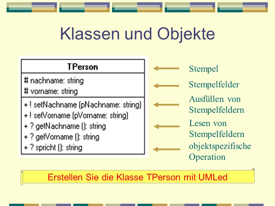 Erstellen Sie die Klasse TPerson mit UMLed