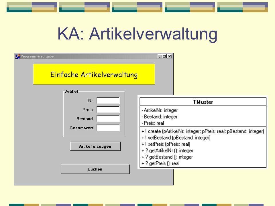 KA: Artikelverwaltung