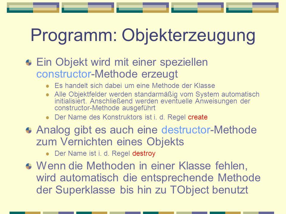 Programm: Objekterzeugung