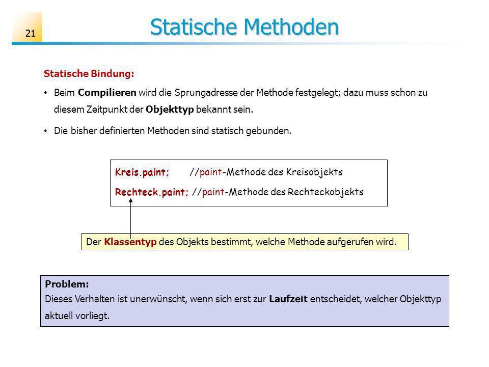 Statische Methoden 21 Statische Bindung: