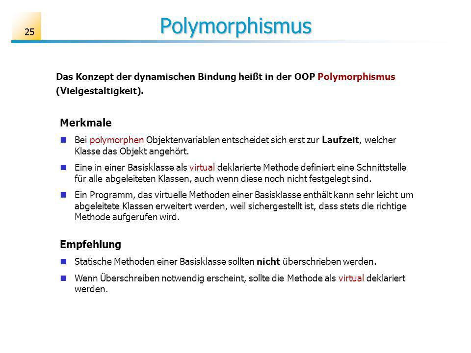 Polymorphismus Merkmale Empfehlung 25