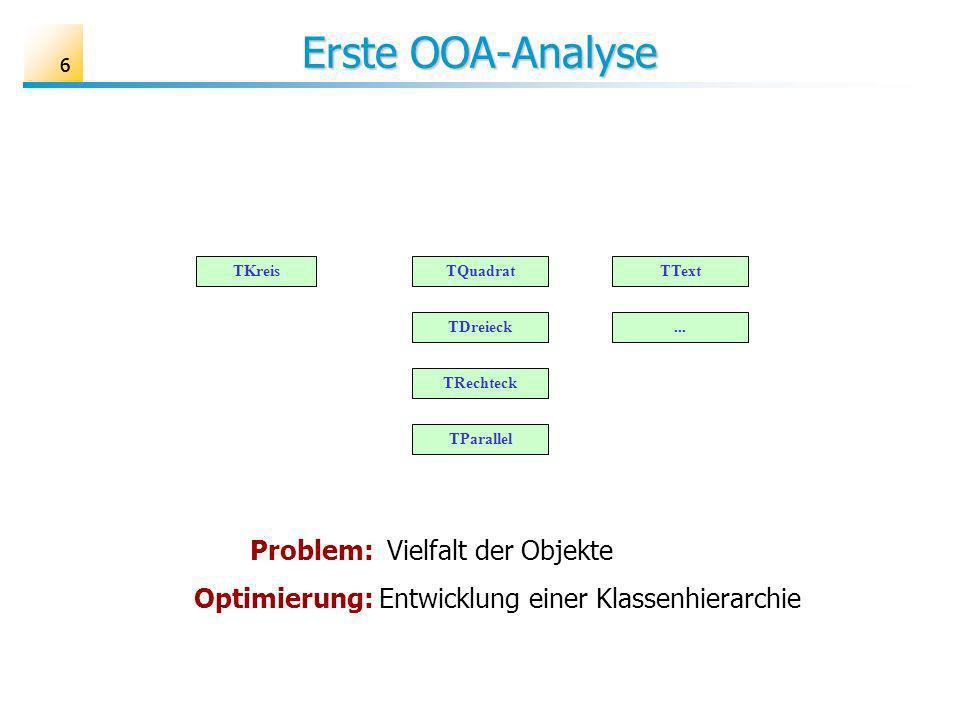 Erste OOA-Analyse Problem: Vielfalt der Objekte