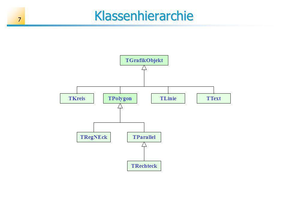 Klassenhierarchie 7 TGrafikObjekt TKreis TPolygon TText TLinie