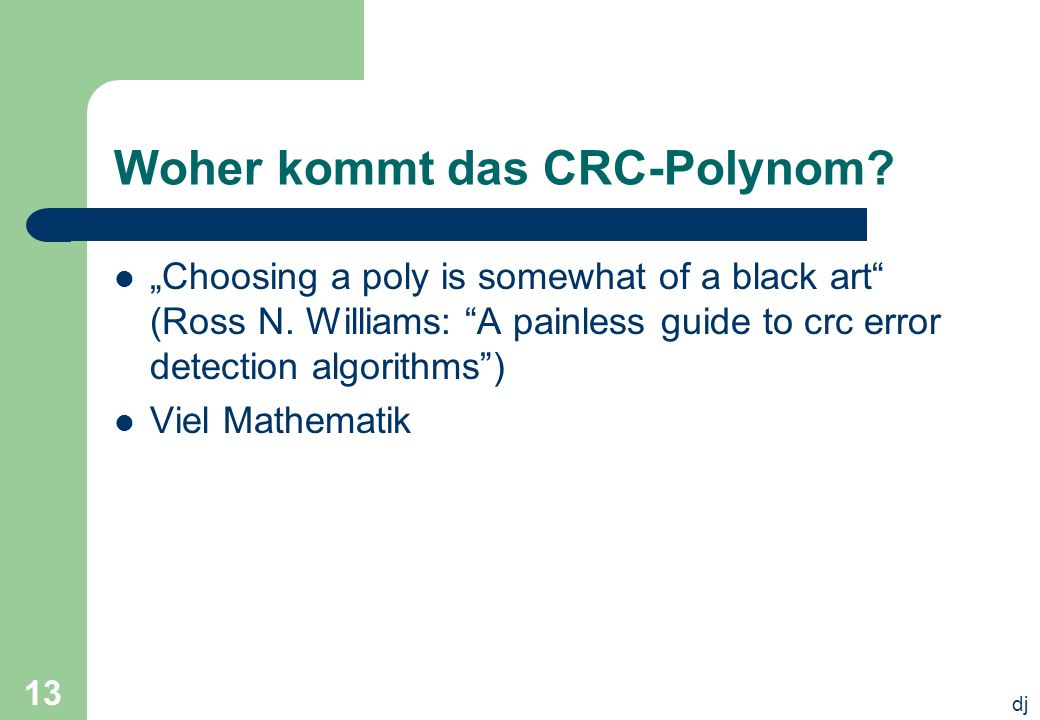 Woher kommt das CRC-Polynom