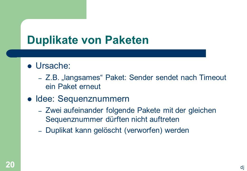 Duplikate von Paketen Ursache: Idee: Sequenznummern