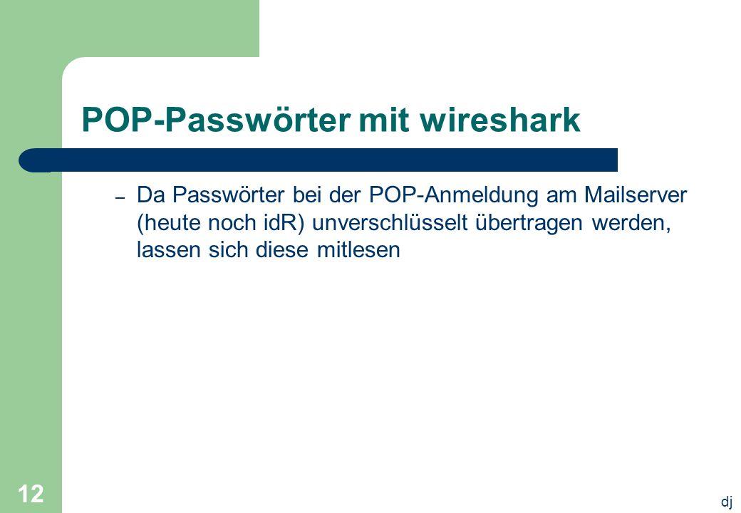 POP-Passwörter mit wireshark