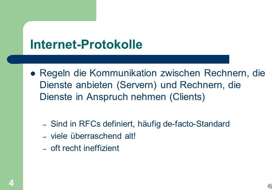 Internet-Protokolle Regeln die Kommunikation zwischen Rechnern, die Dienste anbieten (Servern) und Rechnern, die Dienste in Anspruch nehmen (Clients)