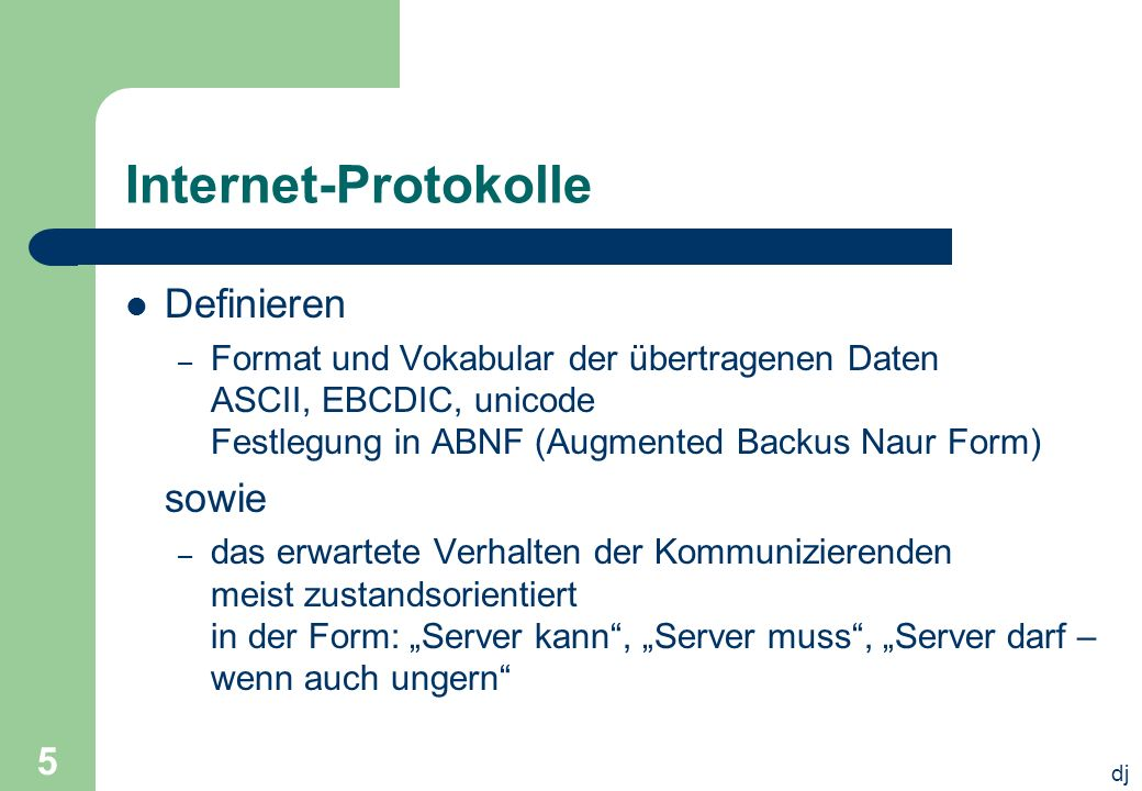 Internet-Protokolle Definieren sowie