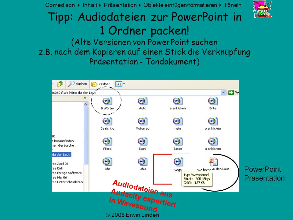 Tipp: Audiodateien zur PowerPoint in 1 Ordner packen
