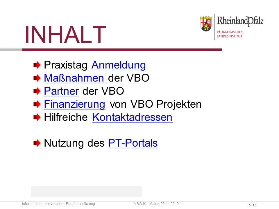 Inhalt Praxistag Anmeldung Maßnahmen der VBO Partner der VBO