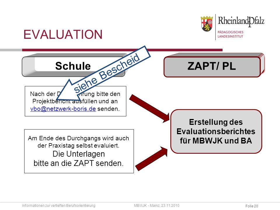Erstellung des Evaluationsberichtes für MBWJK und BA