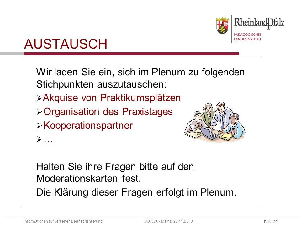 austausch Wir laden Sie ein, sich im Plenum zu folgenden Stichpunkten auszutauschen: Akquise von Praktikumsplätzen.