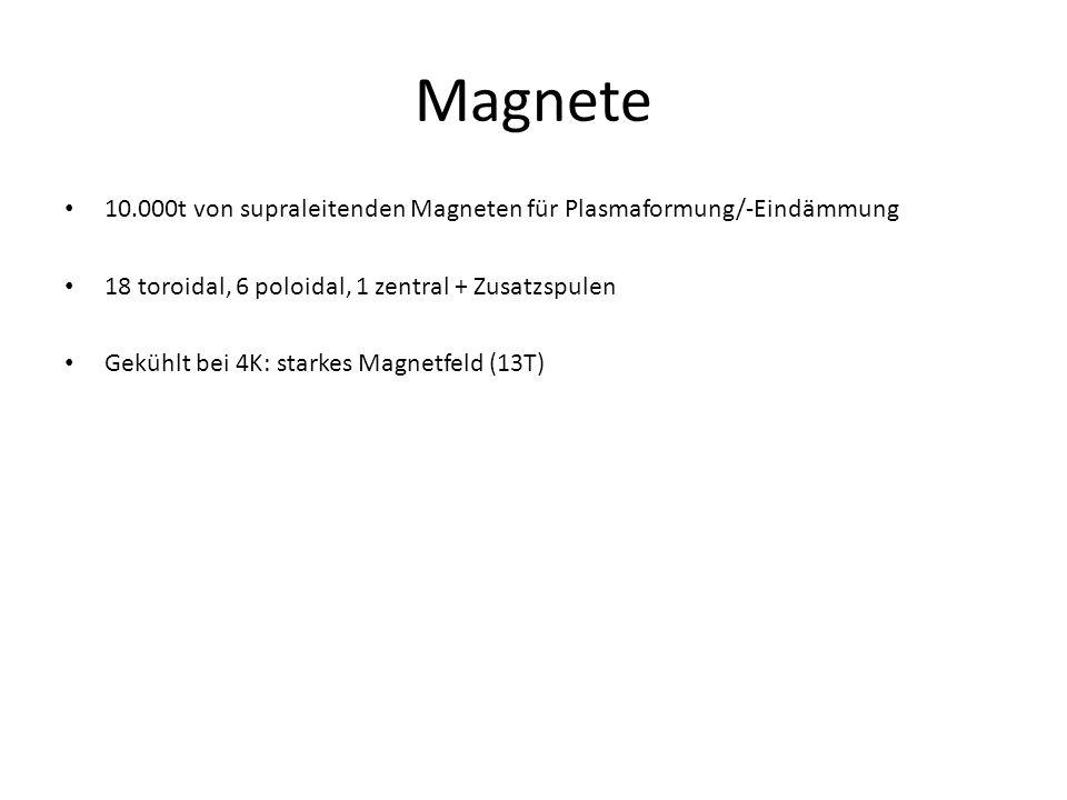 Magnete 10.000t von supraleitenden Magneten für Plasmaformung/-Eindämmung. 18 toroidal, 6 poloidal, 1 zentral + Zusatzspulen.