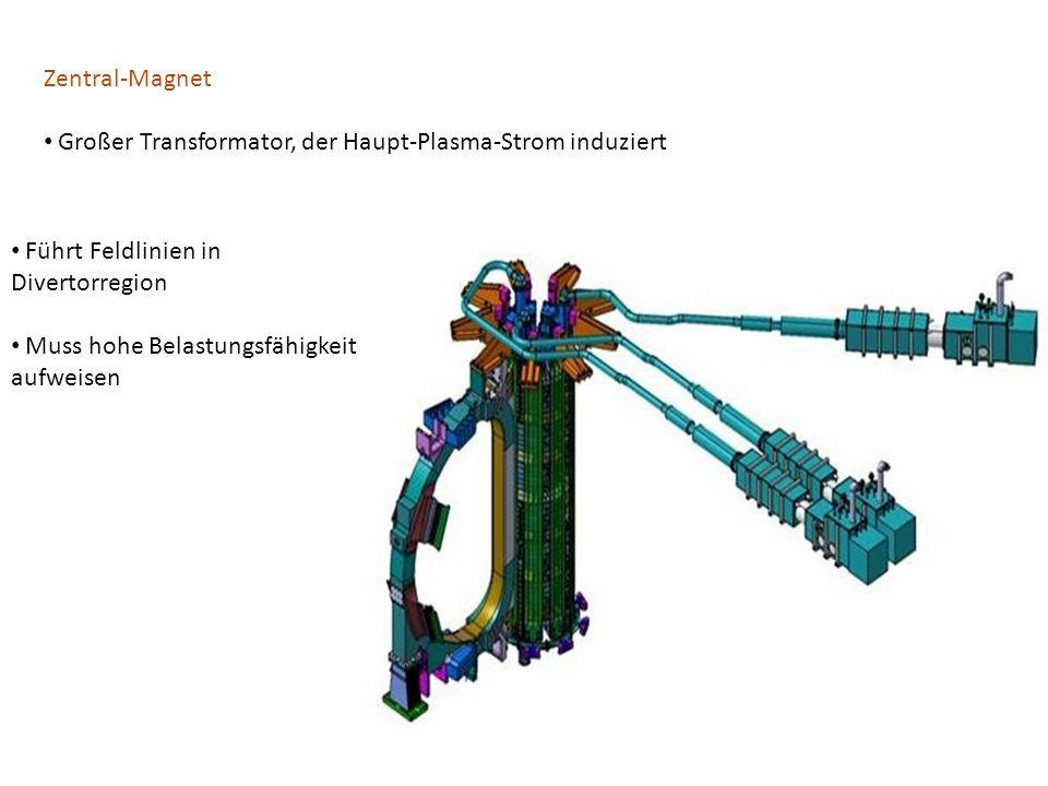 Zentral-Magnet Großer Transformator, der Haupt-Plasma-Strom induziert. Führt Feldlinien in Divertorregion.