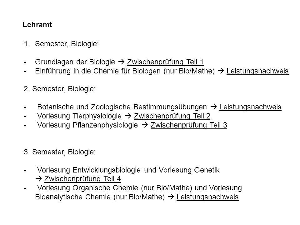 Lehramt Semester, Biologie: Grundlagen der Biologie  Zwischenprüfung Teil 1.