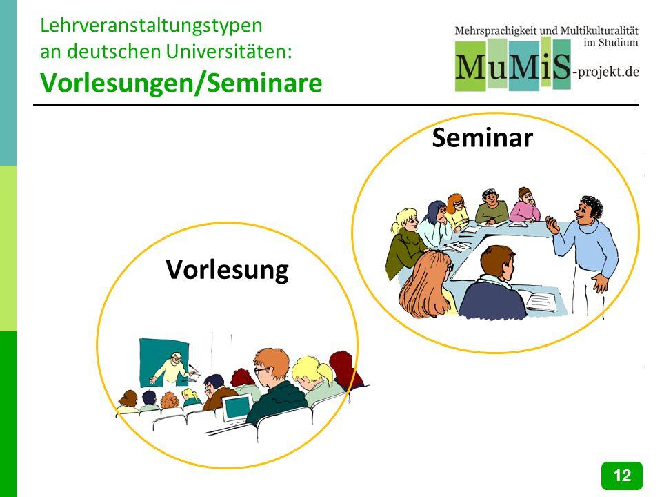 Lehrveranstaltungstypen an deutschen Universitäten: Vorlesungen/Seminare