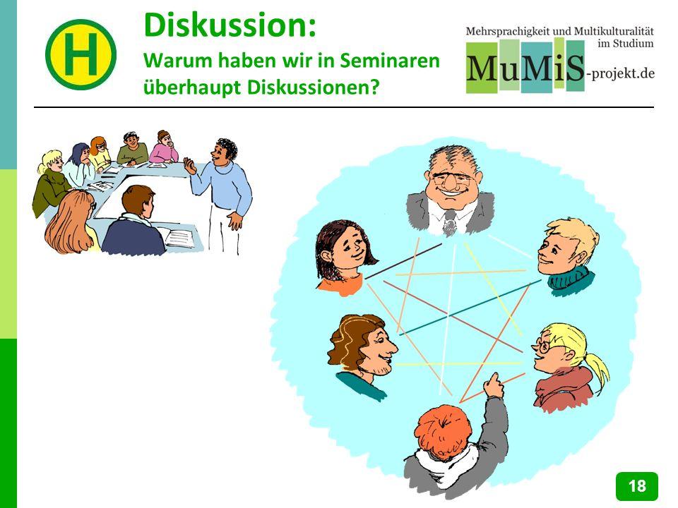 Diskussion: Warum haben wir in Seminaren überhaupt Diskussionen