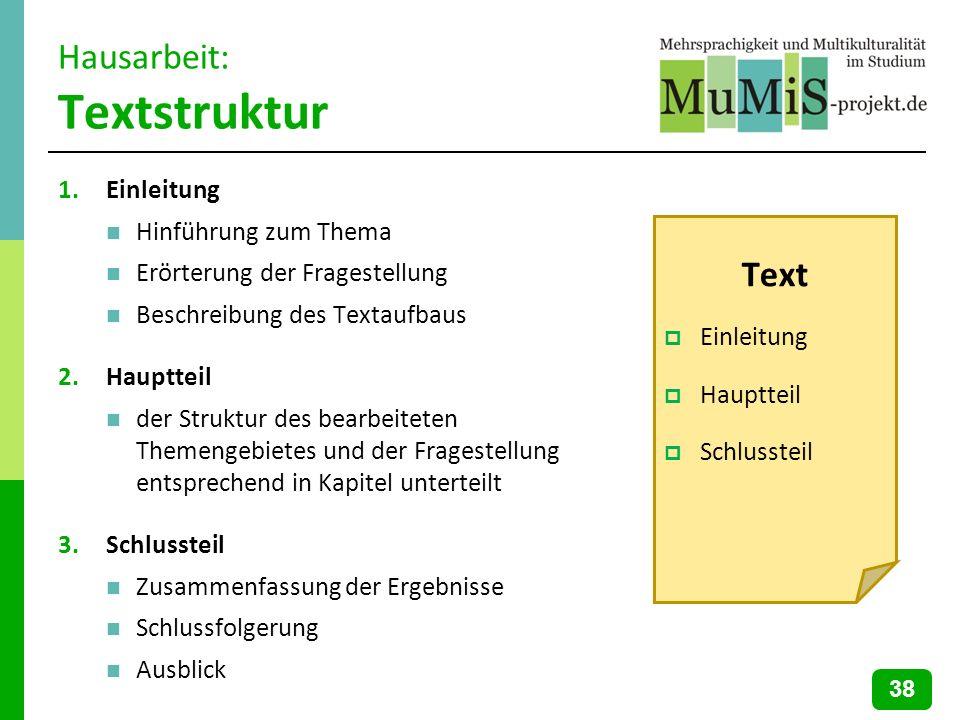Hausarbeit: Textstruktur