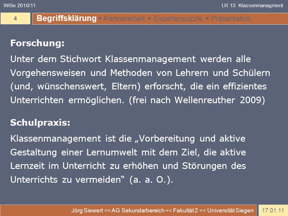 WiSe 2010/11 LR 13: Klassenmanagment