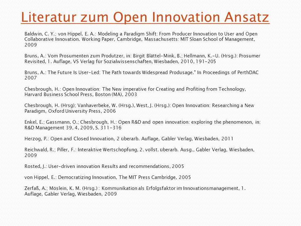 Literatur zum Open Innovation Ansatz