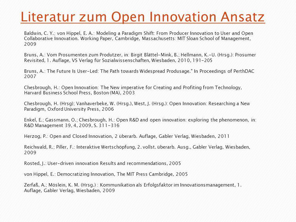 Literatur zum Open Innovation Ansatz