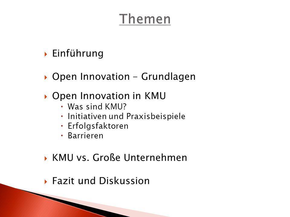 Themen Einführung Open Innovation - Grundlagen Open Innovation in KMU