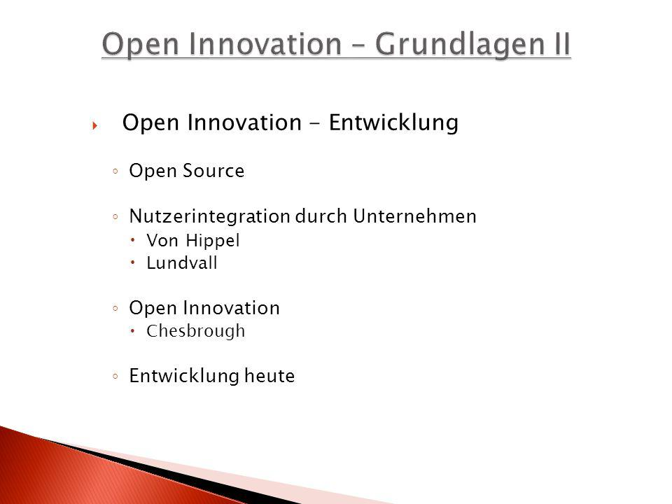 Open Innovation – Grundlagen II