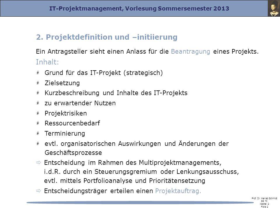 2. Projektdefinition und –initiierung