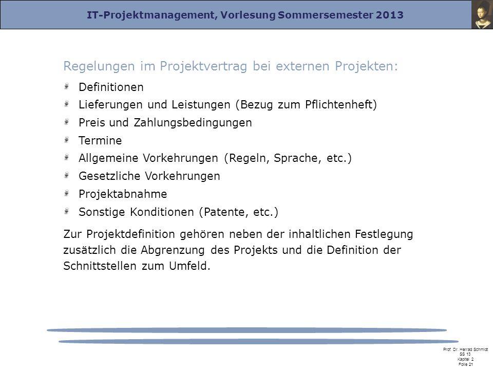 Regelungen im Projektvertrag bei externen Projekten: