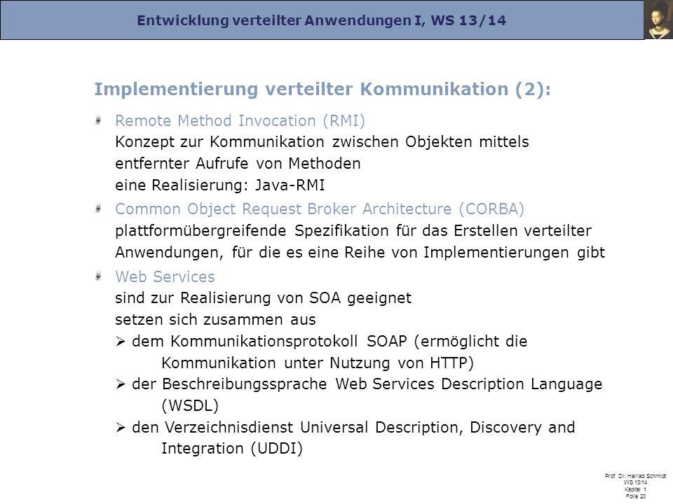 Implementierung verteilter Kommunikation (2):