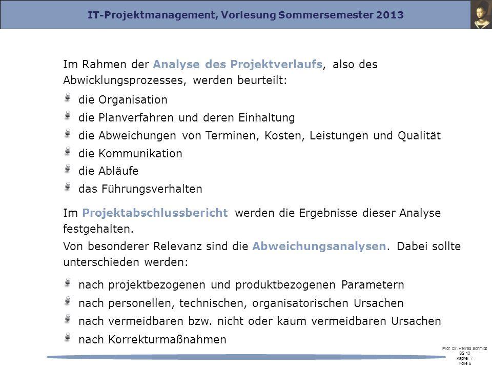 Im Rahmen der Analyse des Projektverlaufs, also des Abwicklungsprozesses, werden beurteilt: